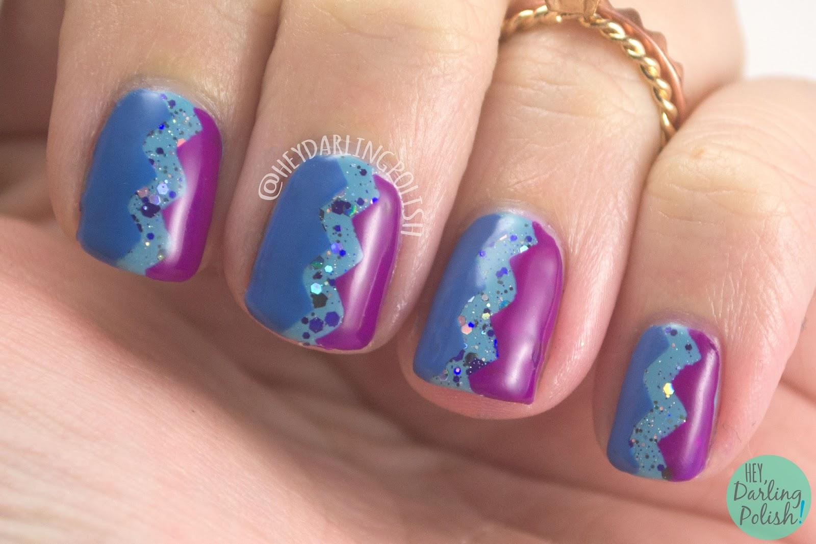 nails, nail art, nail polish, zig zags, purple, blue, hey darling polish, 52 week challenge, zoya, pipe dream polish, indie polish, 52 week challenge
