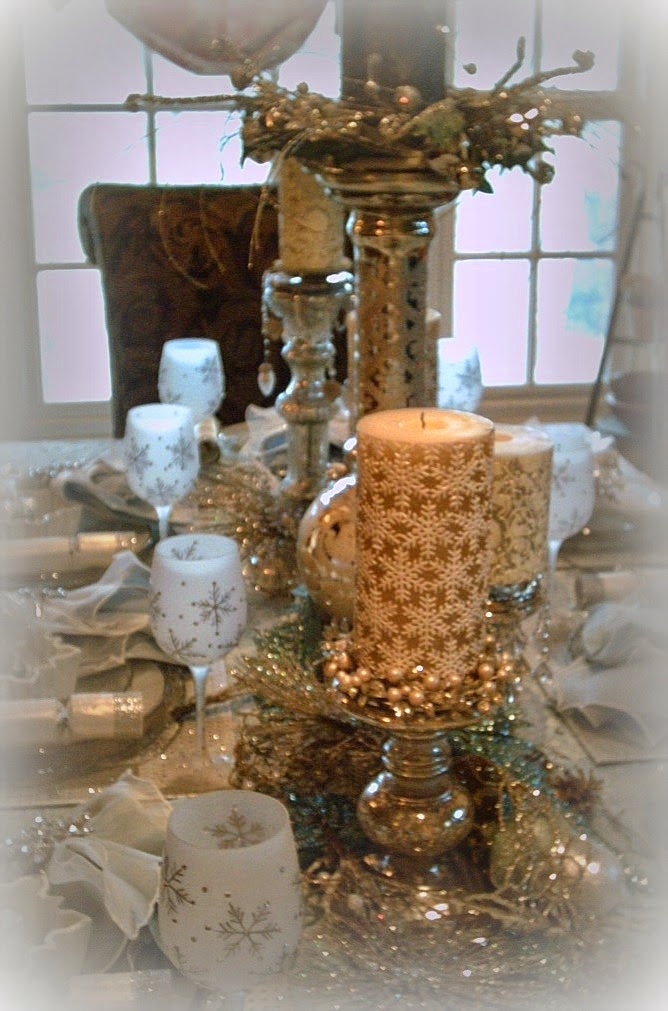 I Used A Mix Of 5 Different Mercury Glass Candle Holders. Blending A  Variety Of Bobecheu0027s And Candle Rings Around The Candles.