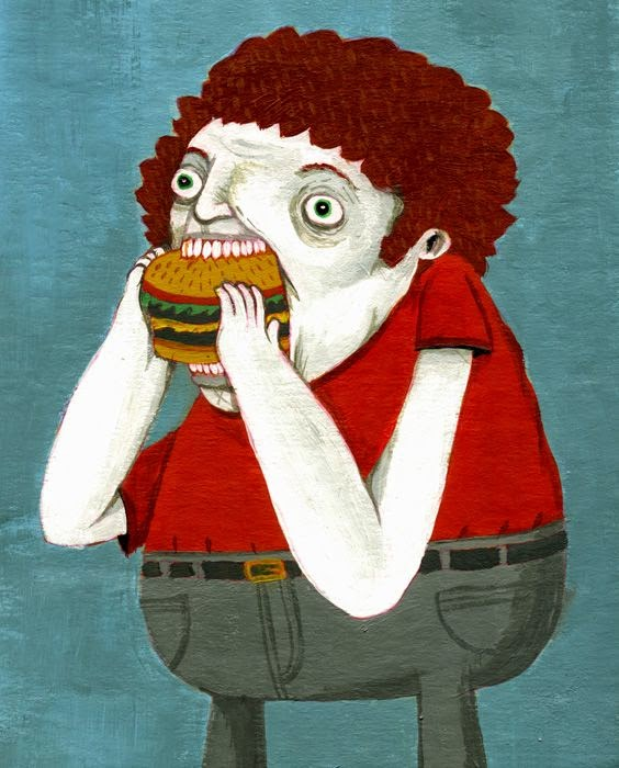 fat kid eating a burger illustration by Greg Kletsel
