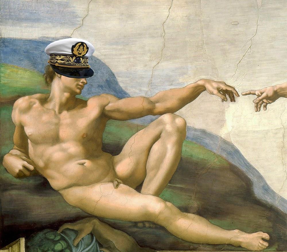 L'Adam de la Chapelle Sixtine affublé d'une casquette d'amiral