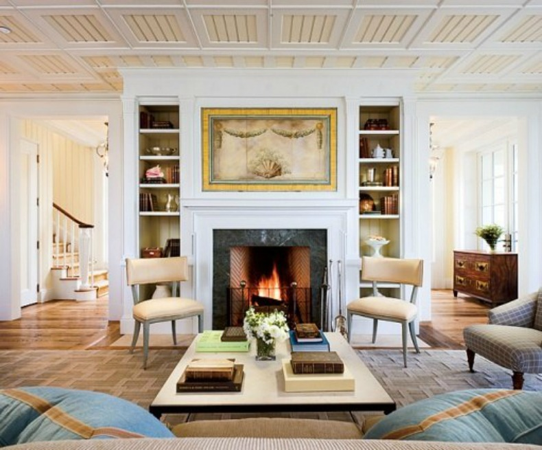 Traditional, coastal, living room