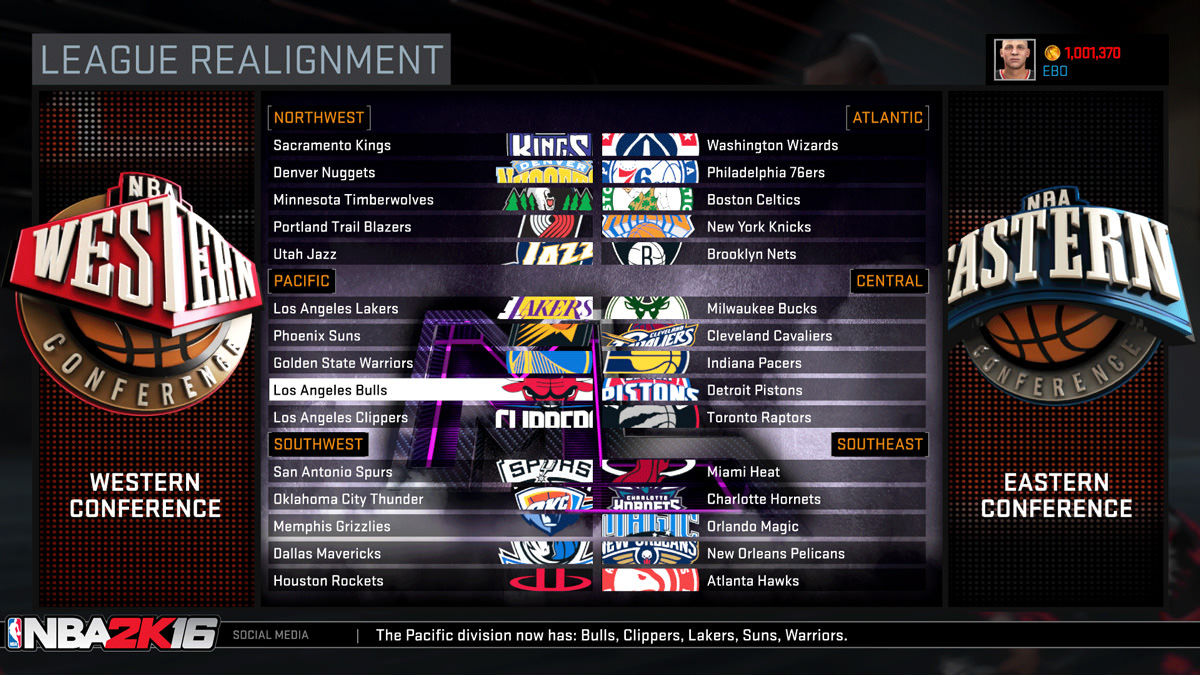 NBA 2k16 MyGM, MyLeague Modes : League Realignment