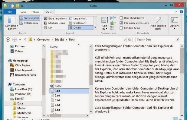 Cara Mengaktifkan atau Mematikan Preview Pane pada File Explorer Windows 8