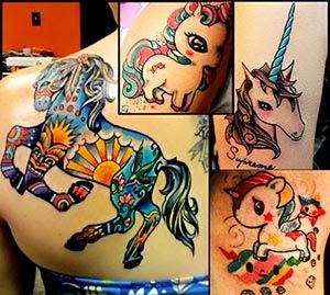 Tatuagens de cavalos femininas unicórnio
