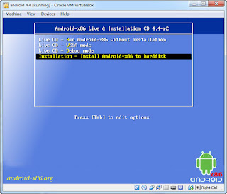 proses instalasi android di komputer pc dengan virtual box
