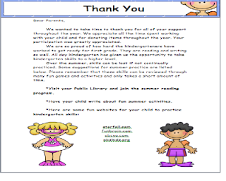 thank you letter to kindergarten teacher