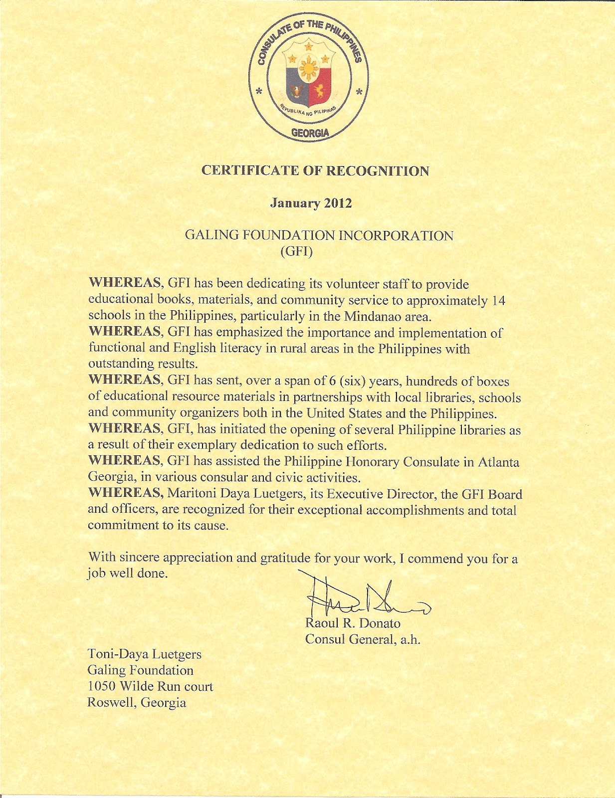 Galing great news certificate of recognition from the philippine certificate of recognition from the philippine honorary consulate yadclub Gallery