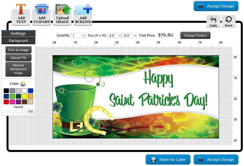 St. Patrick's Day Banner Template in the Online Designer