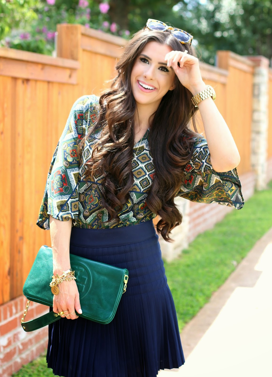 emily gemma hair, sweetest thing hair, tory burch clutch, karen walker super duper, jcrew skirt, jcrew navy skirt, booties, sole society booties, how to style booties, what to wear with booties, sole society booties, pinterest fall fashion, pinterest fall fashion 2014