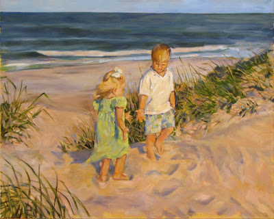 oil painting Children on Beach