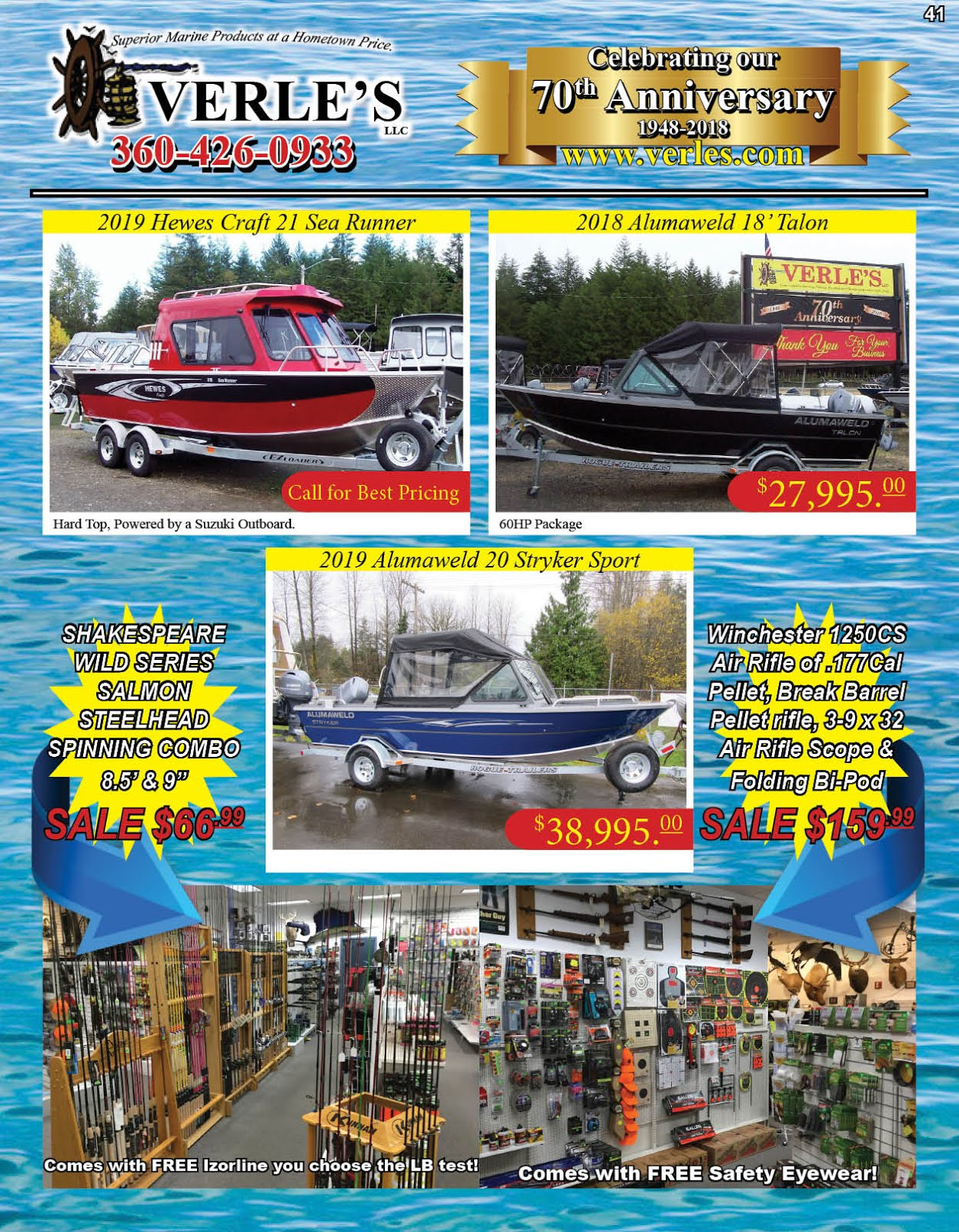 Verles 70th Anniversary!! Specials On Boats Marine Gear Tackle Guns Ammo!!