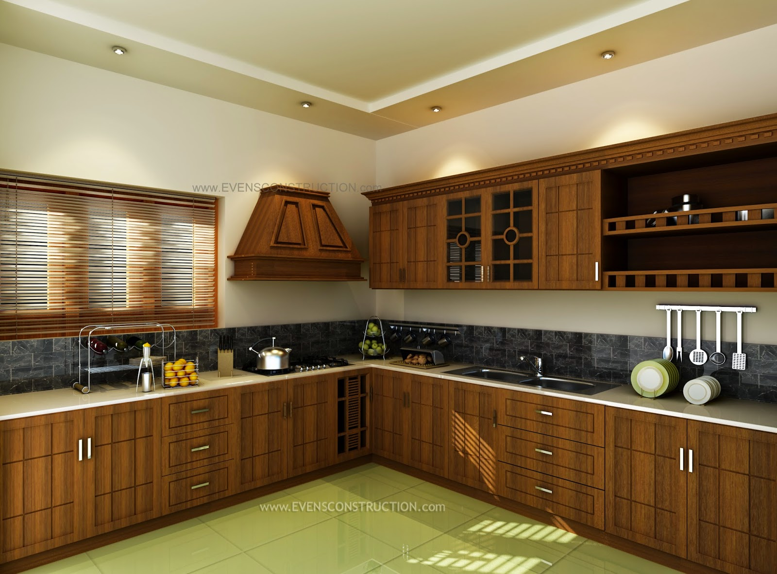 Modern kitchen interior kerala style for Kerala style kitchen photos