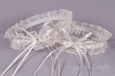 Wedding Garter Set in Ivory Satin & Lace with Swarovski Crystals by Sugarplum Garters