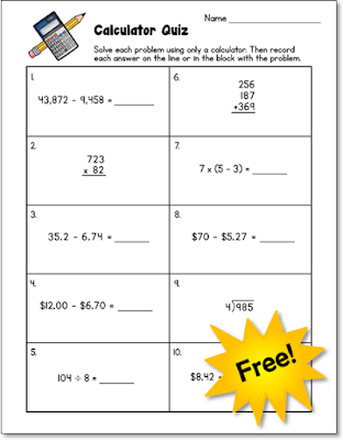 Do your students know how to use a calculator? You won't know for sure unless you assess those skills! Download this freebie to use in your classroom.