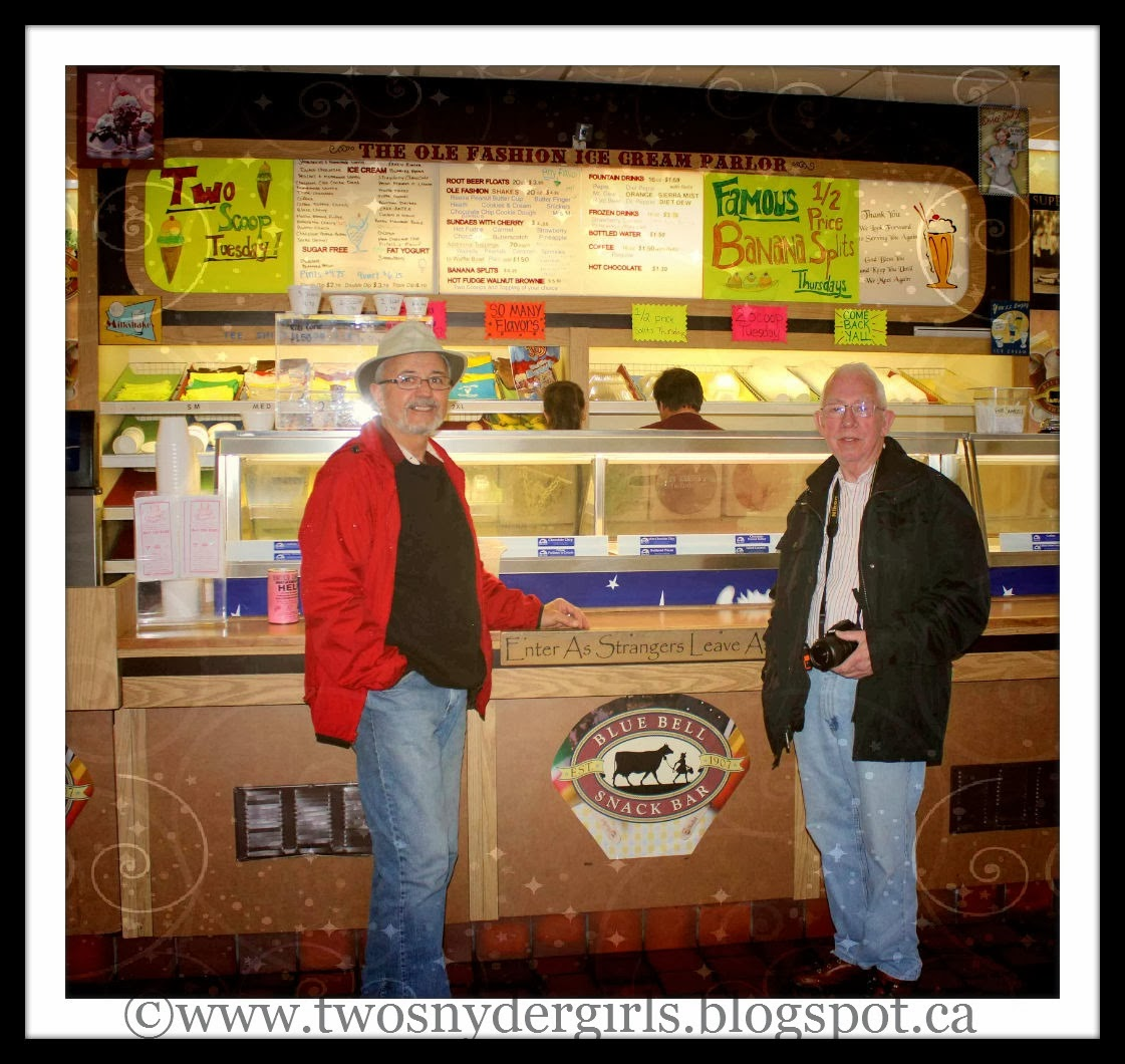 Two men standing in front of Ice Cream counter
