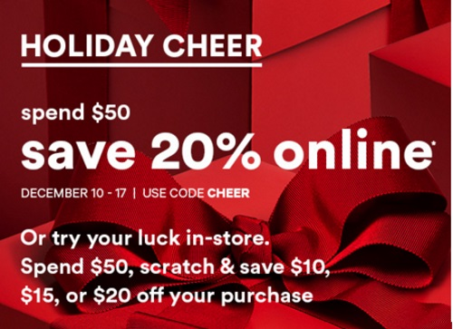 Joe Fresh Holiday Cheer 20% Off + Try Your Luck Scratch & Save In-store Promo Code
