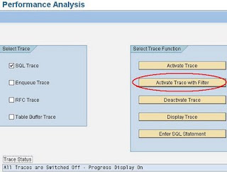 SAP ST05 Performance Analysis, activate trace with filter