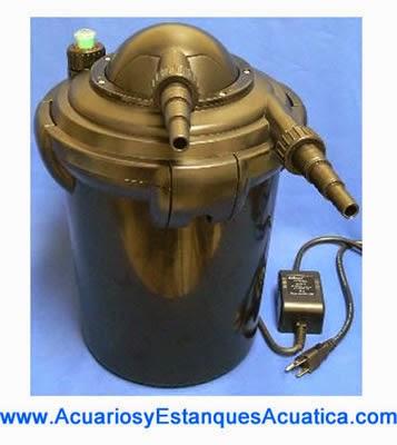 FILTRO A PRESION PARA  ESTANQUES HASTA 2000L CON LAMPARA CLARIFICADOR  UV-C DE 7W