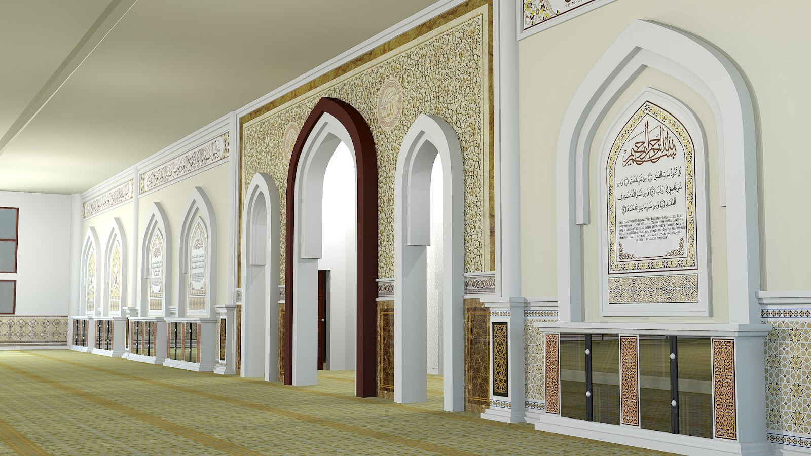 Islamic interior exterior design masjid indah design for Mosque exterior design