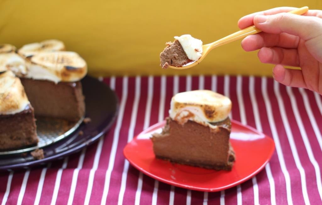 NY cheesecake de chocolate, plátano y marshmallows - El dulce mundo de Nerea