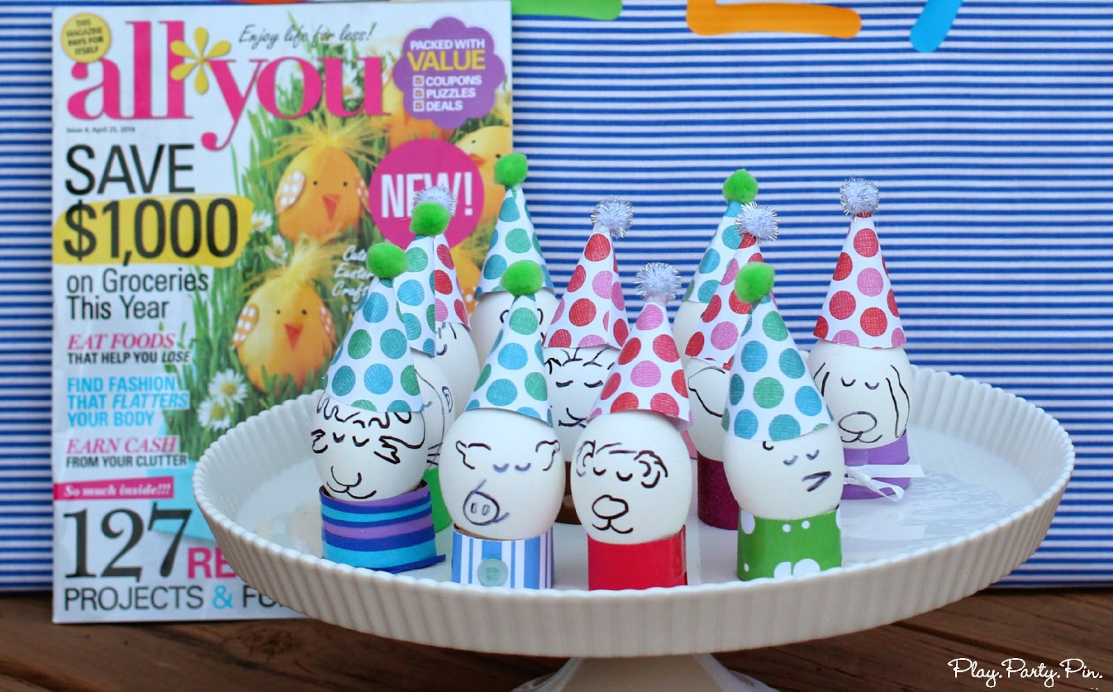 These decorated party eggs would be perfect for a brunch, breakfast, or pajama party #partyideas #eggs #decorations