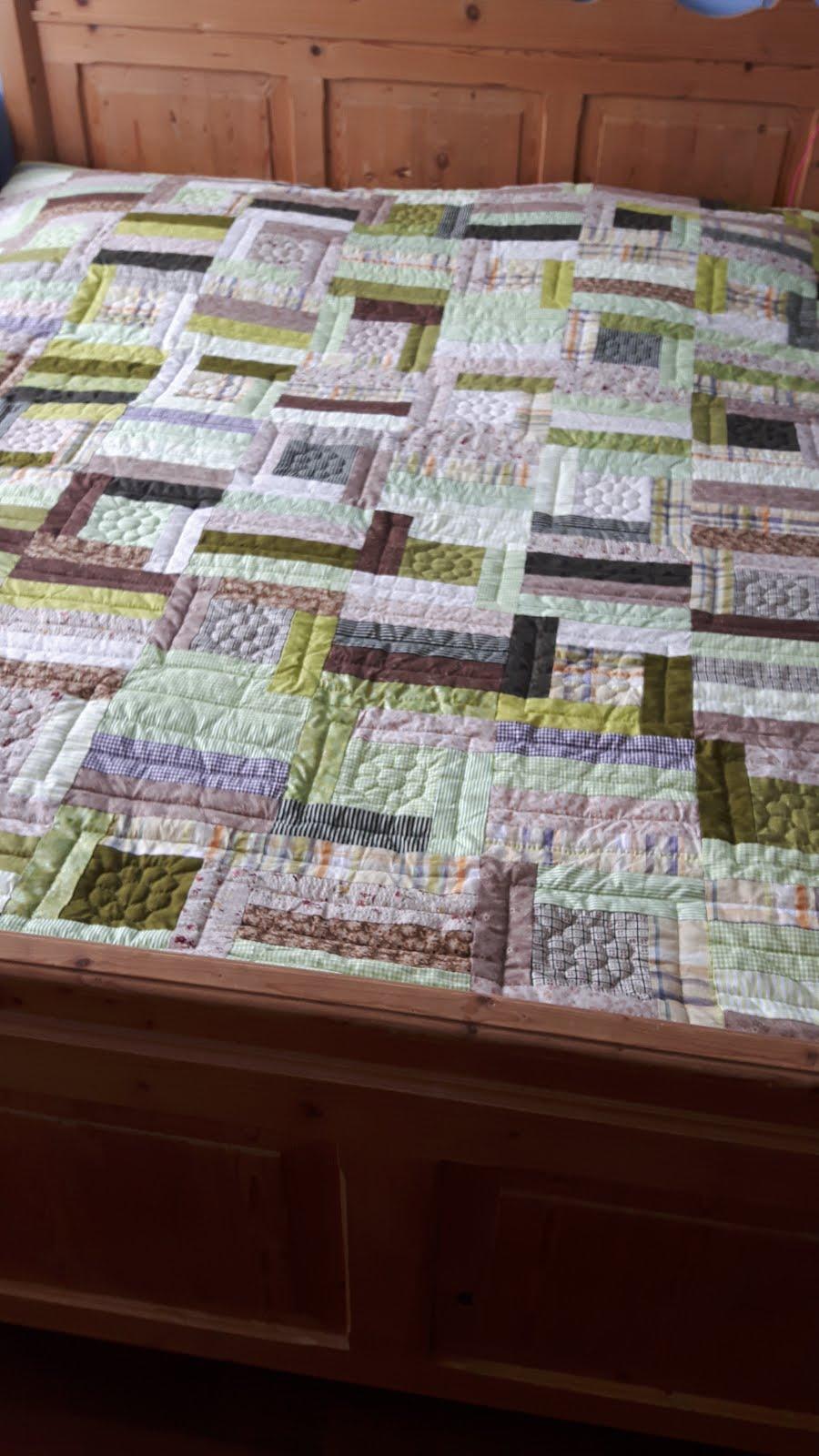 Groene blokken quilt
