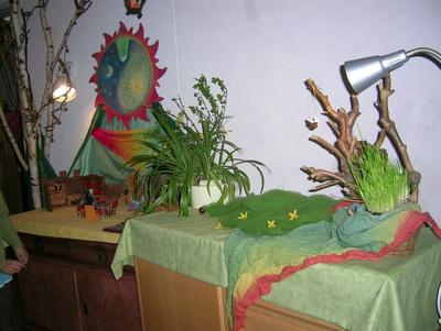 Puppenbühne im Kindergarten, Puppenspiel, Monatsfeier im April