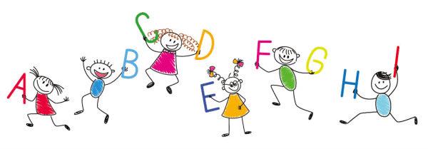 Bordes con niños con letras