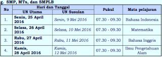 Jadwal Pelaksanaan UN Tingkat SMP MTs 2016