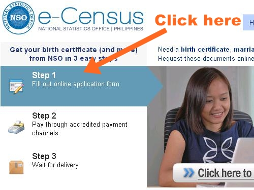 NSO Birth Certificate Delivery - e-Census website