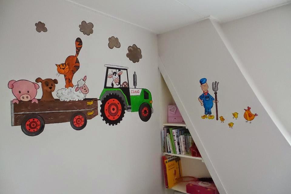 Muurschildering boerderij