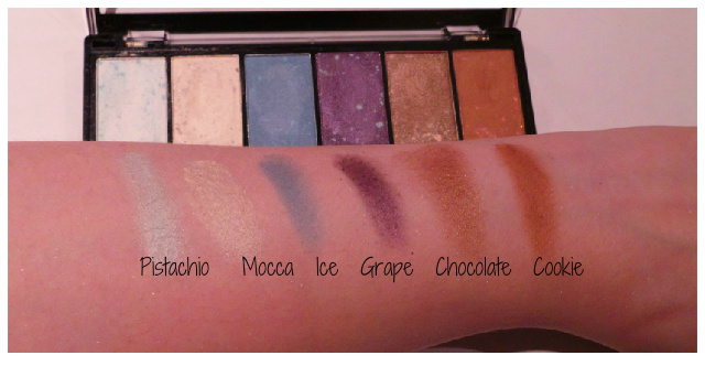 swatches of MUA The Artiste Collection Multi-use Palette