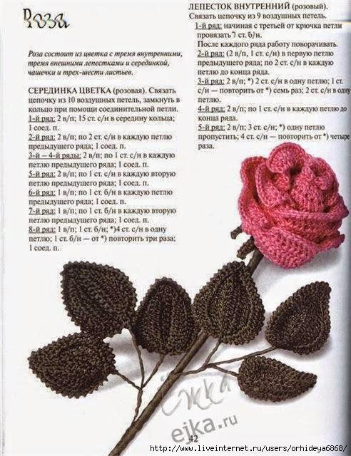Croche Madona-mía puntos y graficos: Rosas tejidas a crochet con ...