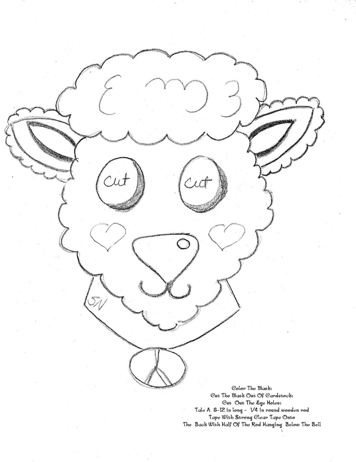 treasure box drawing for jesus lamb mask craft