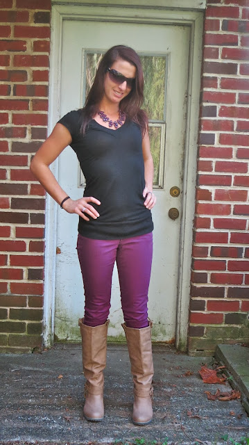purple pants and brown boots outfit
