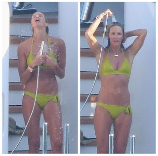 At the yacht in Capri, Italy on Saturday, July 11, 2015, according to Daily Mail Online report, the flawless lady, Elle MacPherson, 51, wouldn't afraid to displaying her art ina two-piece, which is apparently to be a green smoothie.