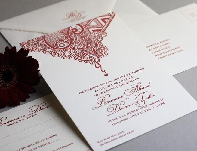henna inspired letterpress invitations asian wedding ideas