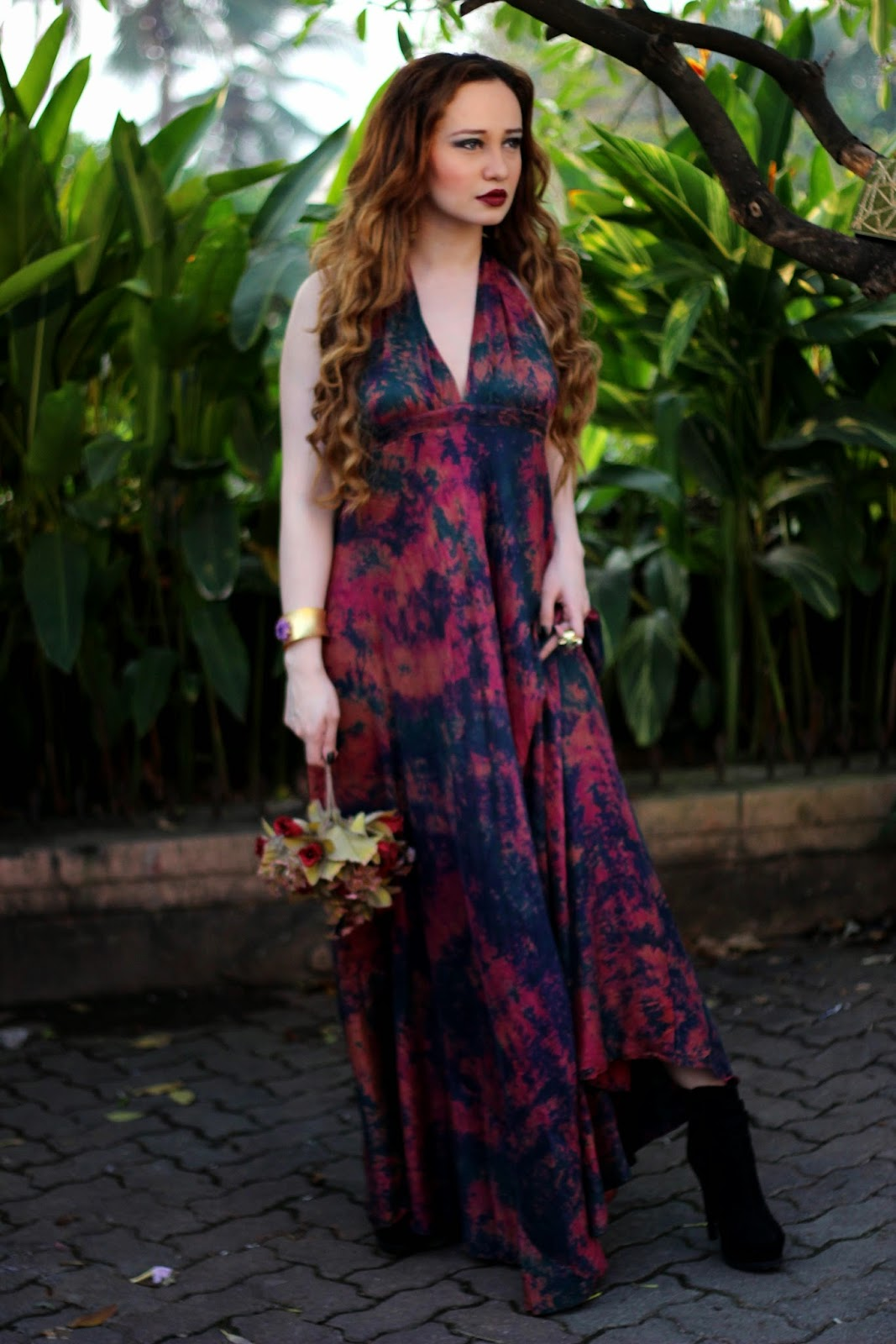 Batik Silk Maxi Dress, Bordeaux Lips