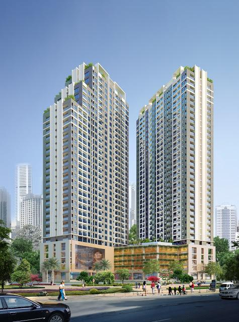 Phối cảnh nhìn góc phía 2 tòa 32T A và C của chung cư Golden An Khánh