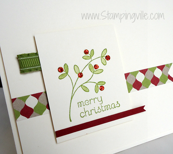 Christmas card stamped image detail