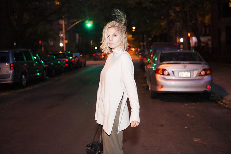 Ann Taylor open slit turtleneck, oversized knit, messy blond hair, Topshop green maxi dress, Park Slope, Brooklyn