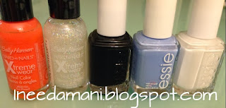 Essie bikini so teeny Essie licorice Essie blanc sally Hansen disco ball sally Hansen sunkissed