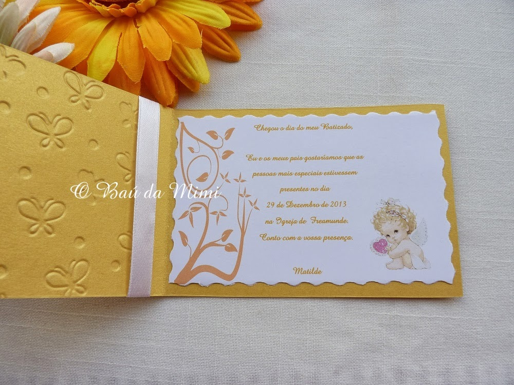O Baú Da Mimi Lembrançasconvites Batizado Tema Dourado Cv021