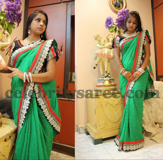 Sea Green Butti Border Saree