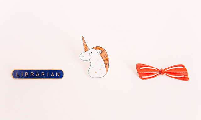 librarian, handmade unicorn and bow brooches