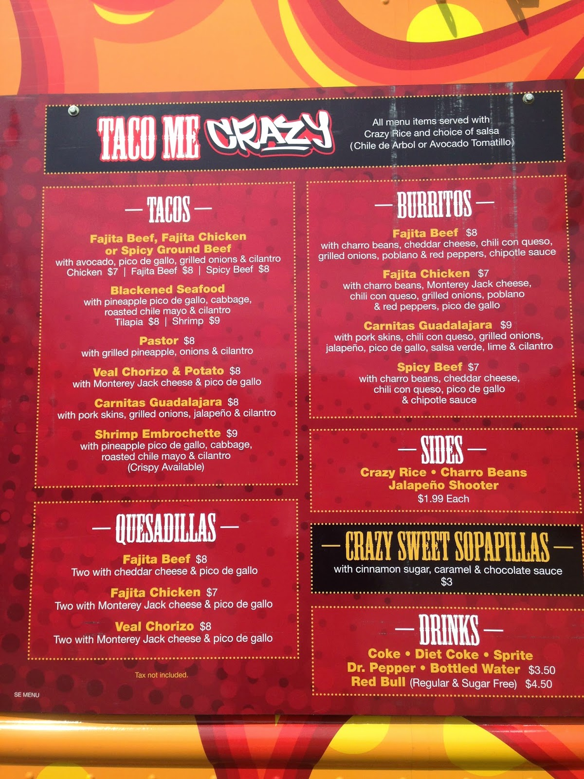 Taco Me Crazy Food Truck Menu