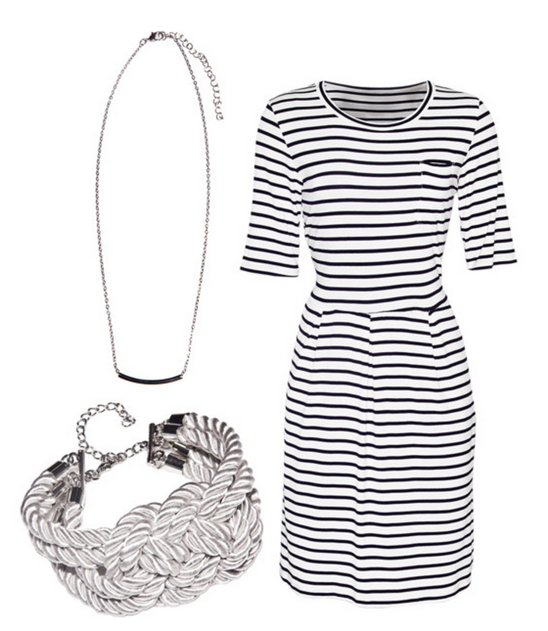 rope bracelet, silver necklace, striped dress,