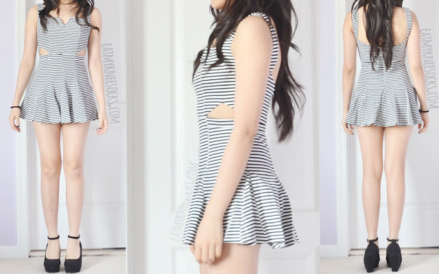 A cute summer/spring outfit featuring Dresslink's striped cutout pleated flared dress and black wedge-heel pumps.