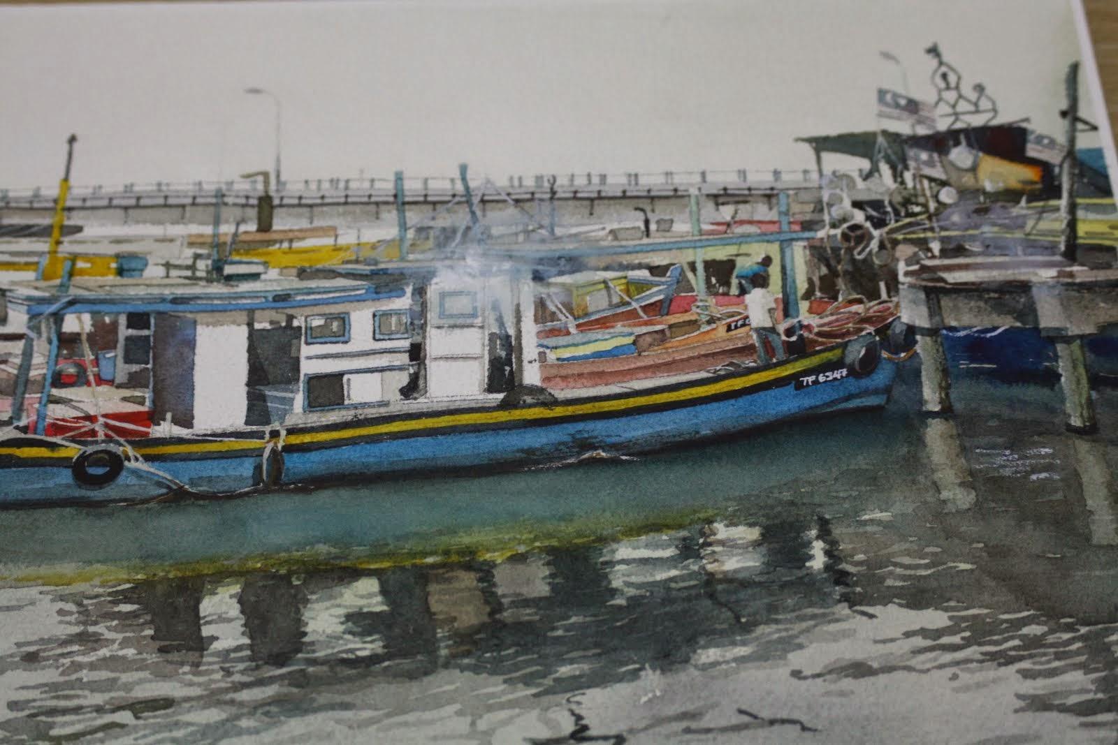 Watercolor: Nelayan Kuala Besut