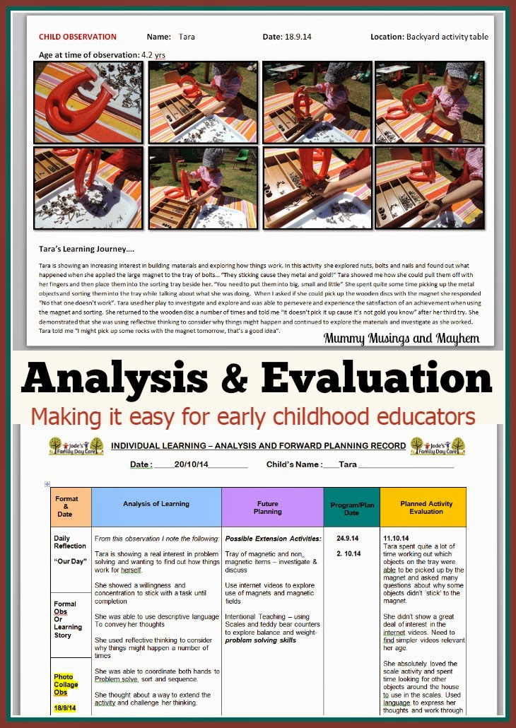 Analysis and Evaluation Documentation Ideas for Early childhood educators - Mummy Musings and Mayhem